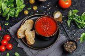 Traditional Spanish Cold Tomato Soup Gazpacho In A Bowl On Stone Background. Traditional Spanish Foo poster