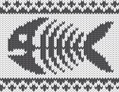 Knitted pattern with fish skeleton