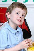 Adorable Four Year Old Boy At Preschool