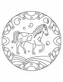 Pattern With A Horse. Illustration With A Wild Horse. Mandala With An Animal.  Farm Horse In A Circu poster