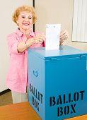 Election - Senior Woman Casts Ballot