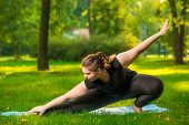 Flexible Woman Plus Size In The Park On The Lawn Performs Stretching Exercises poster