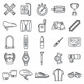Cycling Equipment Kit Icons Set. Outline Set Of Cycling Equipment Kit Vector Icons For Web Design Is poster