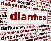 Diarrhea medical warning message concept