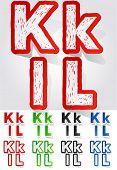 Grunge sticker alphabet. Vector illustration of dirty font. Letters k l