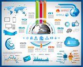 Infográfico com o conceito de computação em nuvem - conjunto de etiquetas de papel, ícones de tecnologia, nuvem cmputing, grap