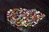 Necklace Pile Of Jewel-Tone Beads