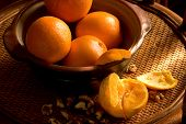 Stillife With Oranges On Rattan Tray