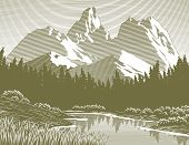 Woodcut Mountain Lake Scene