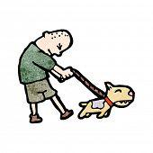 cartoon skinhead walking dog