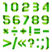 stock photo of arabic numerals  - Font folded from green paper  - JPG