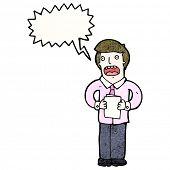 cartoon man reading from notes