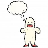 cartoon yeti monster with thought bubble