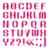 Spectral letters folded of paper ribbon-pink