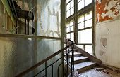 abandoned building, stairwell