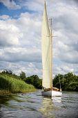 Norfolk Broads Sail Boat Sailing On A River