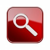 Magnifier Icon Red, Isolated On White Background