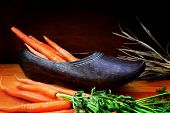 Wooden Shoe with carrots for St Nicholas Day