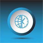 Globe and clock. Plastic button. Vector illustration.