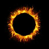 picture of blast-furnace  - illustration of fire flame in circular frame - JPG