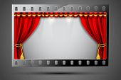 illustration of stage curtain in film stripe showing cinema theater