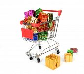 Christmas decoration box with shopping carts,shopping cart full with presents,