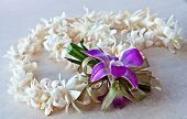 Tuberose Lei With Purple Orchid And Ribbon