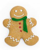 stock photo of gingerbread man  - Smiling gingerbread man with scarf and buttons - JPG
