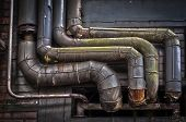 picture of blast-furnace  - A HDR picture of old pipes at a closed blast furnace - JPG