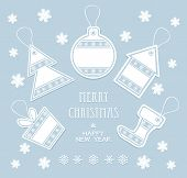 Merry Christmas and New Year labels in blue color