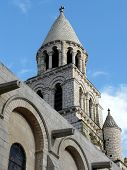 picture of poitiers  - Bell tower on the Notre Dame Cathedral in Poitiers France - JPG