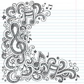I Love Music Back to School Sketchy Notebook Doodles with Music Notes and Swirls- Hand-Drawn Vector Illustration Design Elements on Lined Sketchbook Paper Background