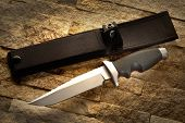 Hunting knife with a sheath