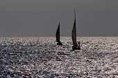 Sailing boats at sea.