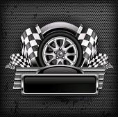 Racing Emblem On Black & Text