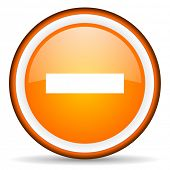 minus orange glossy circle icon on white background