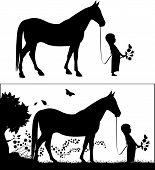 Girl With Horse Silhouette