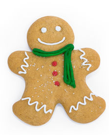 foto of gingerbread man  - Smiling gingerbread man with scarf and buttons - JPG