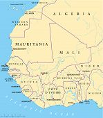 image of yamoussoukro  - Political map of West Africa with capitals - JPG
