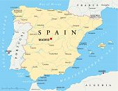 stock photo of algiers  - Political map of Spain with the capital Madrid - JPG