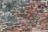 Old Vintage Red Brick Wall Texture With Old Concrete Wall Mix
