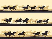 stock photo of herd horses  - Horizontal vector banner - JPG