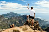 Trail Runner Success, Man Running In Mountains