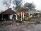 foto of beach hut  - Village homes and property along Subic Bay Beach Philippine Islands destroyed by Typhoon Pedrig - JPG