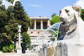 Lion Statue In Piazza Del Popolo, Rome, Italy
