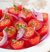 stock photo of black-cherry  - tomato cherry salad with  black pepper and onion - JPG