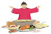 Chinese Cuisine Concept with Chef in Traditional Clothing