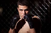 Portrait of a MMA Fighter in a cage