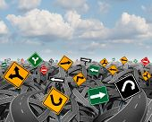 picture of hazard symbol  - Direction uncertainty with a landscape of confused tangled roads and highways and a group of traffic signs competing for influence as a symbol of the challenges of planning a strategy for success - JPG