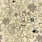 Seamless pattern with black-and-white leaves and insects
